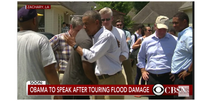 President Obama tours flood damage in Louisiana